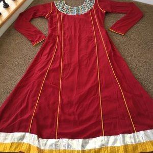 Afghan Indian Pakistan beautiful red custom dress